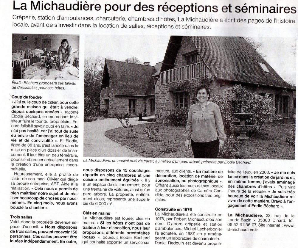 Candide Camera - La michaudière - Article Ouest France